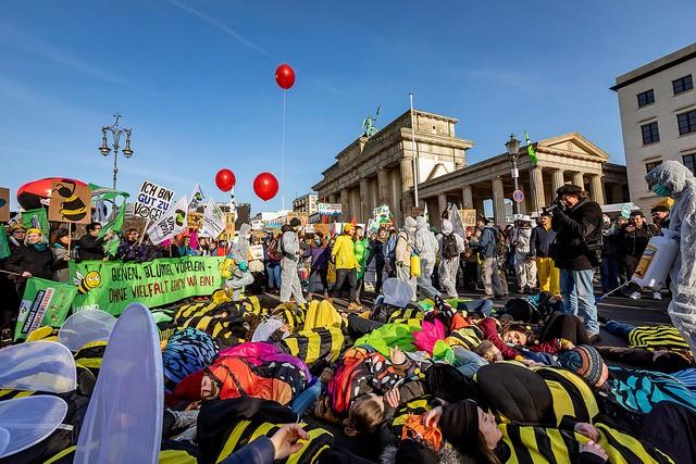 """""""Wir haben es satt!""""-Demo, 19.1.2019 in Berlin 35.000 Menschen und 171 Traktoren brachten bei der """"Wir haben es satt""""-Demo am 19.12019 die Straßen in Berlin mit fantastischer Stimmung zum Vibrieren: ein klares Signal an Landwirtschaftsministerin Klöckner für eine EU-Agrarreform für Bäuer*innen, Tiere und die Umwelt. Foto: Jörg Farys / www.dieprojektoren.de"""