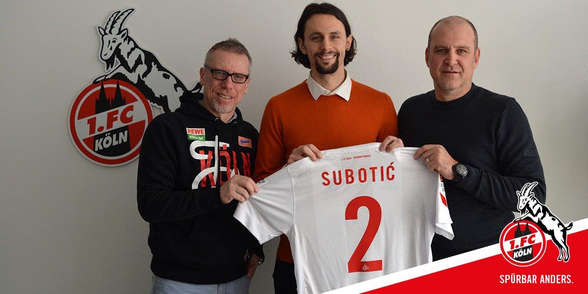 v.l. Peter Stöger, Neven Subotic, Jörg Schmadtke Foto 1.FC Köln PK
