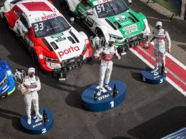 Prize giving ceremony, 4 Robin Frijns (NED, Audi Sport Team Abt Sportsline, Audi RS 5 DTM), 33 René Rast (GER, Audi Sport Team Rosberg, Audi RS 5 DTM), 51 Nico Müller (SUI, Audi Sport Team Abt Sportsline, Audi RS 5 DTM), 2020 DTM Zolder;