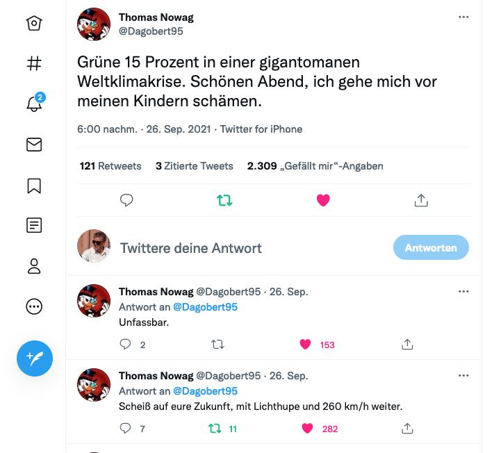 @Dagobert95 Twitter-Screenshot vom Wahlabend Bundestagswahl 2021