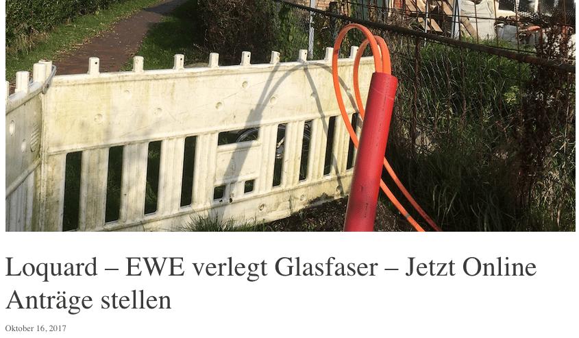 EWE Glasfaserausbau Ostfriesland begann im Sommer 2017