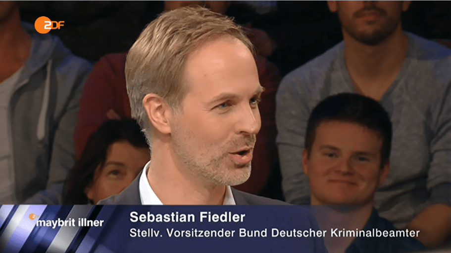 Sebastian Fiedler BDK in der Sendung Maybritt Illner Foto: Video Screenshot ZDF Video