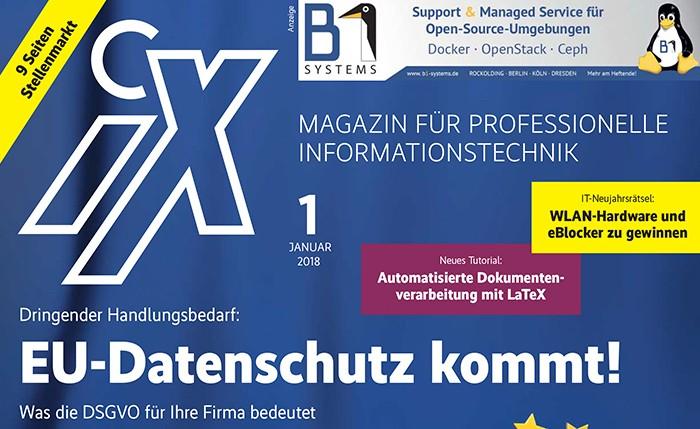 """iX Ausgabe 1/18 Foto(c) """"obs/iX-Magazin/iX 1/18"""""""