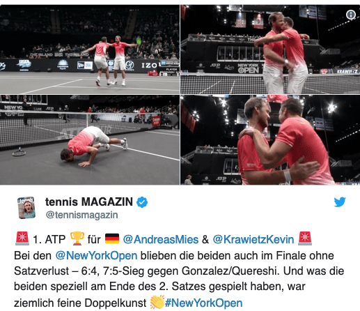 Tweet vom Tennismagazin vom Sieg in New York