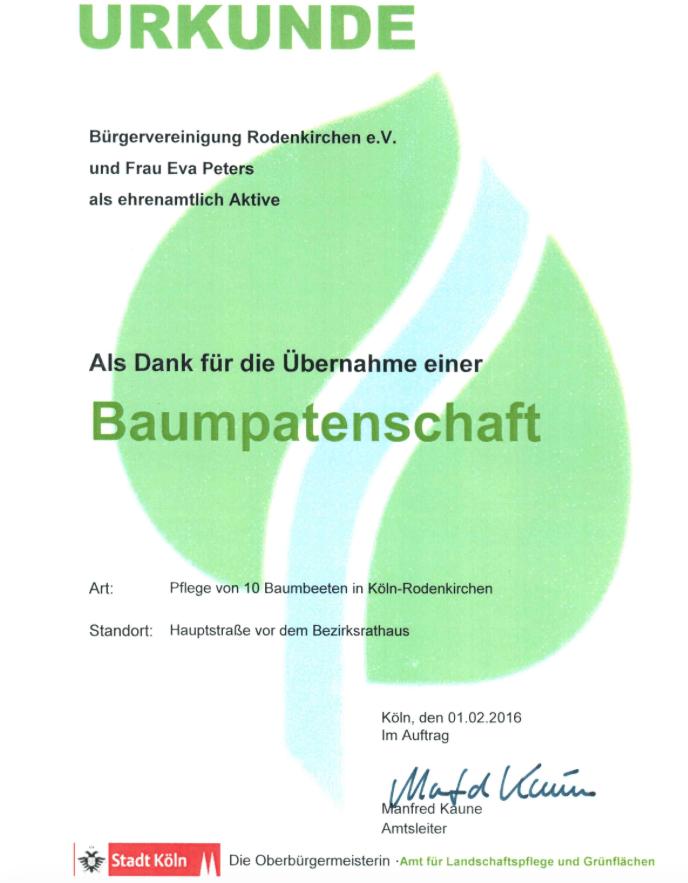 Urkunde Baumpaten