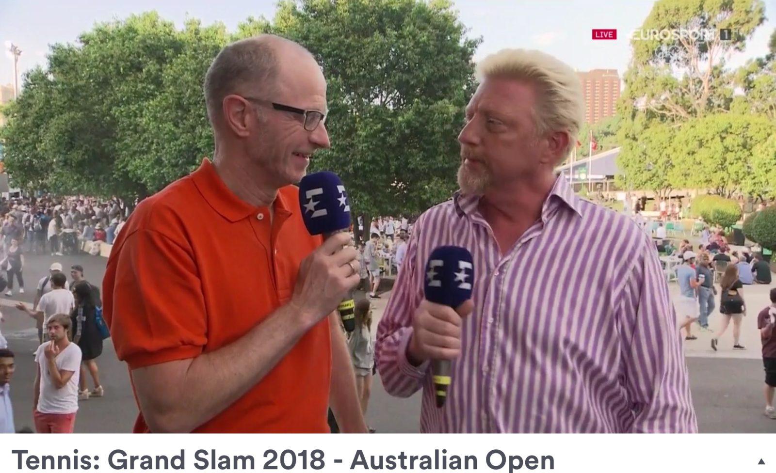 Matthias Stach und Boris Becker Eurosport Tennis Moderatoren Foto (C) Eurosport TV