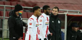 1.FC Köln vs. Hertha BSC Berlin, 16. Spieltag, 16.01.2021, 15.30 Uhr, Mitte von links: Ismail Jakobs 1.FC Köln, Anthony Modeste 1.FC Köln Foto(c)imago images / Herbert Bucco