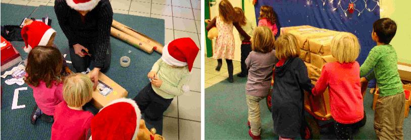 Gemeinsam kreativ für einen guten Zweck: Kinder und Eltern der Kita Sommersprossen packen Geschenke für Kinder in Not. (Fotos: Sommersprossen e.V.)